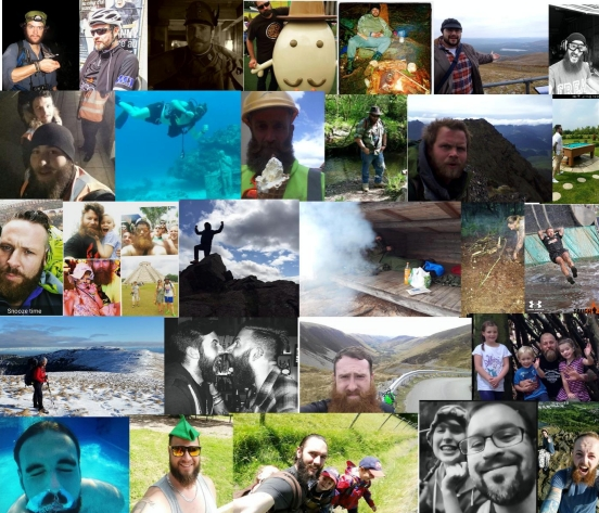 Survival adventure beard collage