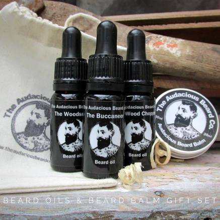 balm oil set with text